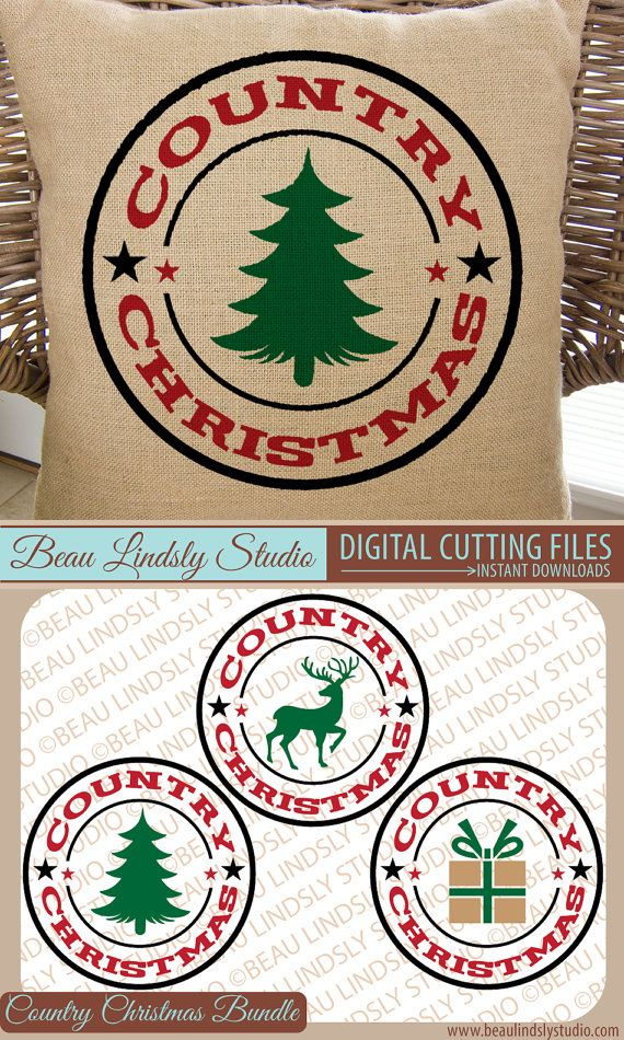 Bundle Country Christmas SVG Cutting File, Christmas Clip Art, in SVG, DXF and PNG Image formats. Great for Sublimation too!  This listing includes all three versions of my Country Christmas Circular Designs, including the Deer, Tree and Present and is a money saver.