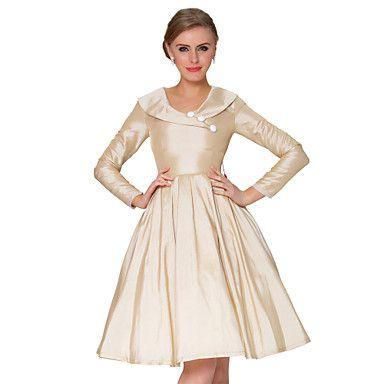 thuiskomst 1950 vintage stijl revers met delicate lange mouw klassieke jurk – EUR € 66.49