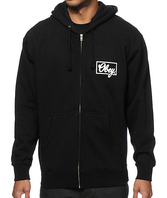 Cozy up with a warm fleece lined zip up body with a white Obey script graphic at the left chest and larger at the back.