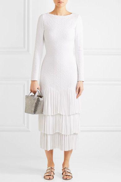 Alaïa - Tiered Pleated Jacquard-knit Midi Dress - White - FR38