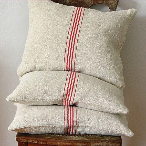 Tea Towels Pillow Talk: Vintage Grainsack Pillow Five Red Stripes