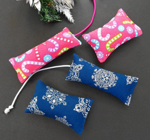Cat Toys Organic Catnip Candy Cane Pink or Snowflake Blue Christmas Holiday Gift Choice of One Set of Two