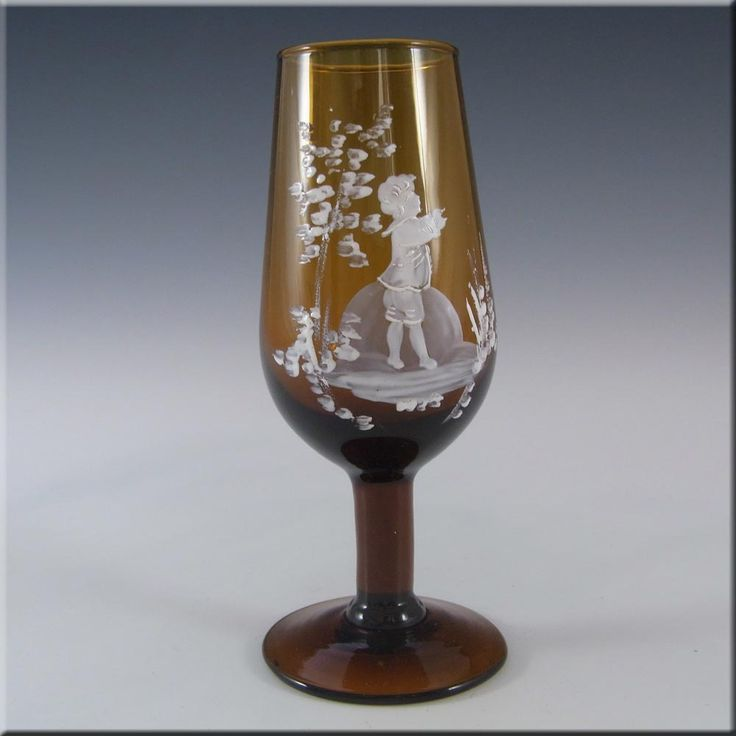Mary Gregory Bohemian Hand Enamelled Amber Glass Goblet - £30.00