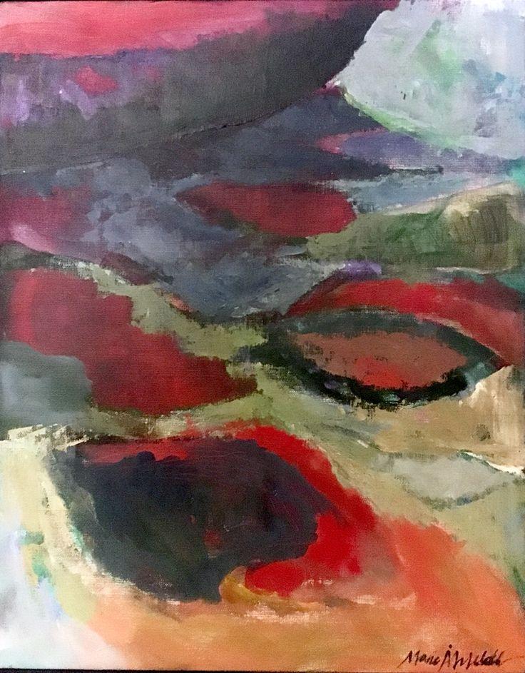 Reflection. Spegling. 45,5x58 cm + wood frame in white 2 cm. Acrylic painting on canvas by Marie Åhfeldt, Mås Illustra. www.masillustra.se #painting #art #masillustra #seaside #boat #red