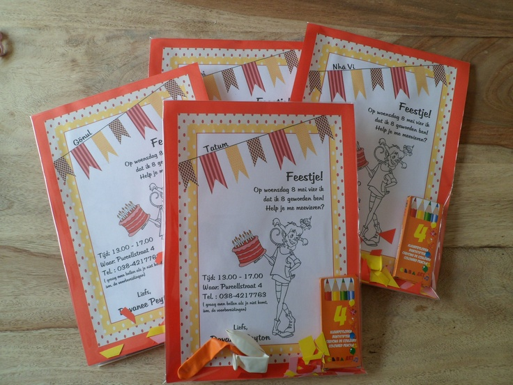 Invites For The Kidsparty. Pippi LongstockingParty Party