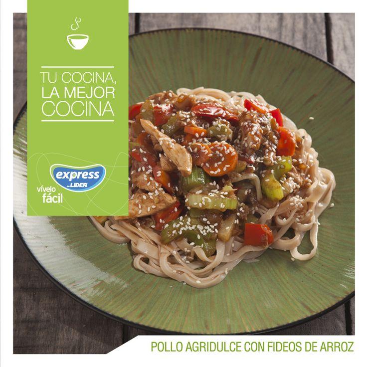 Pollo agridulce con fideos de arroz. #Recetario #Receta #RecetarioExpress #Lider…