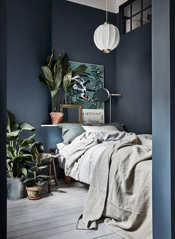 Bleu grisé et plantes vertes en abondance dans la chambre à coucher.