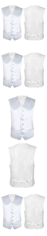 Mens Wedding Waistcoat Groom (Ivory white L/UK 40)