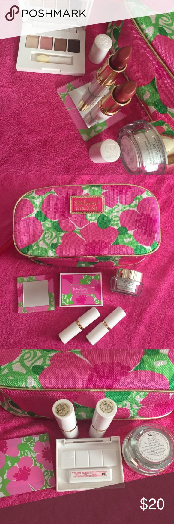 Lilly Pulitzer for Estée Lauder bundle Lilly Pulitzer for Estée Lauder makeup bag and makeup bundle. All items New! Bundle includes Lilly Pulitzer for a Estée a Lauder makeup bag, Estée Lauder day wear spf 15 .05oz, little mirror, Lilly Pulitzer for Estée Lauder eyeshadow, and two long lasting lipsticks in shade of 17 Rose Tea Cream and 83 Sugar Homer Shimmer. Lilly Pulitzer Makeup Lipstick