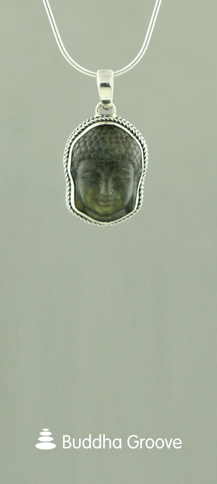 Labradorite Buddha Face Pendant with Sterling Silver