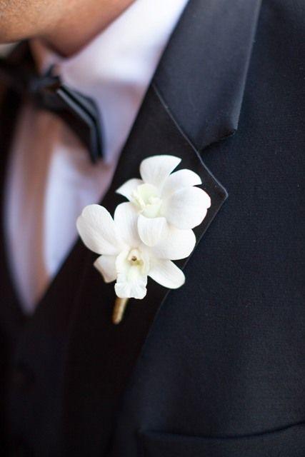 White Dendrobium Orchid Boutonniere | Wedding Flowers ...