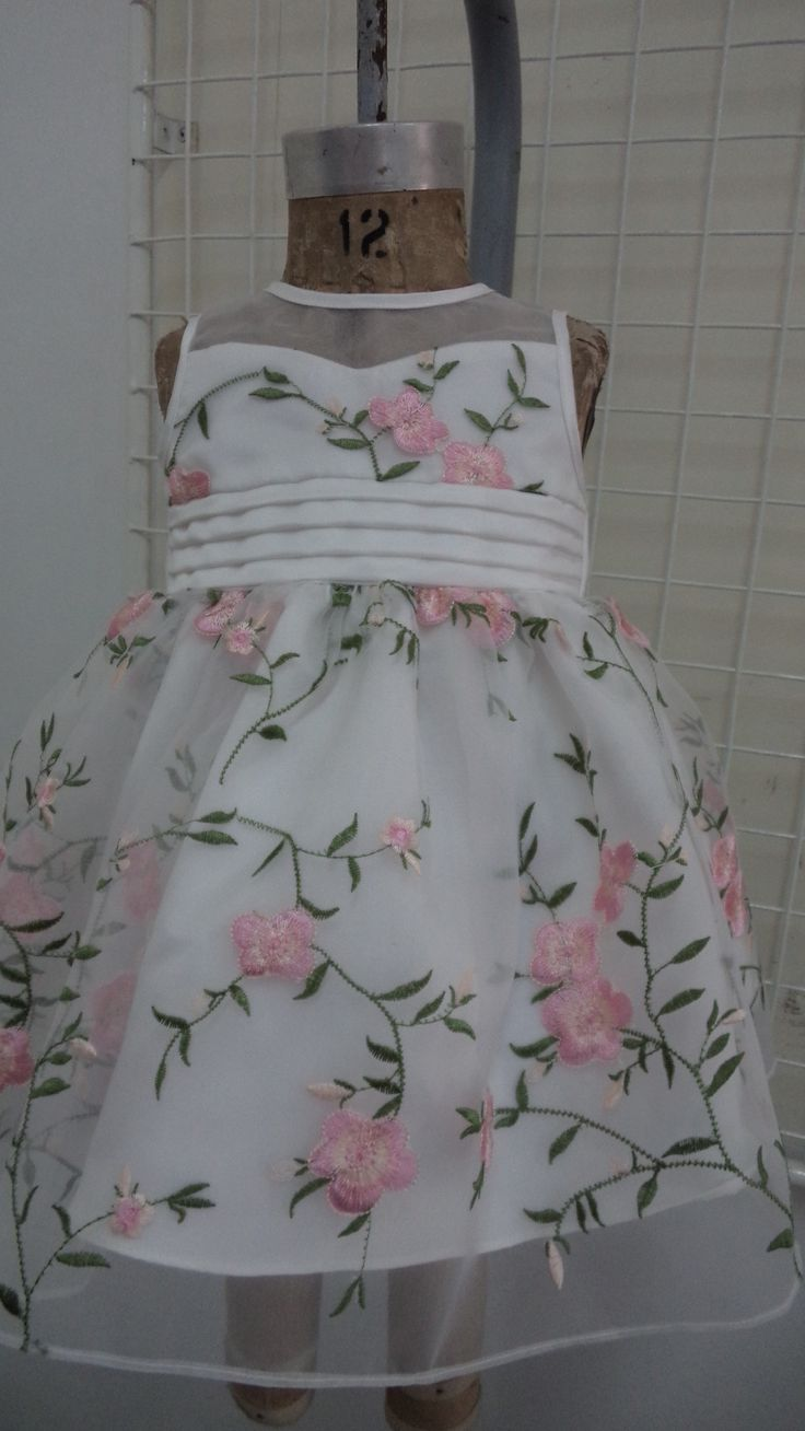 infant dress in embroidered organza fabric, sweetheart neckline and pleated waistline...simply gorgeous!