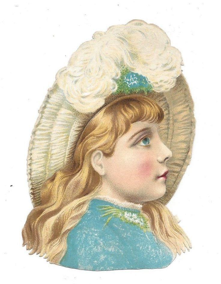 Victorian Die Cut Scrap Pretty Blue eyed girl.