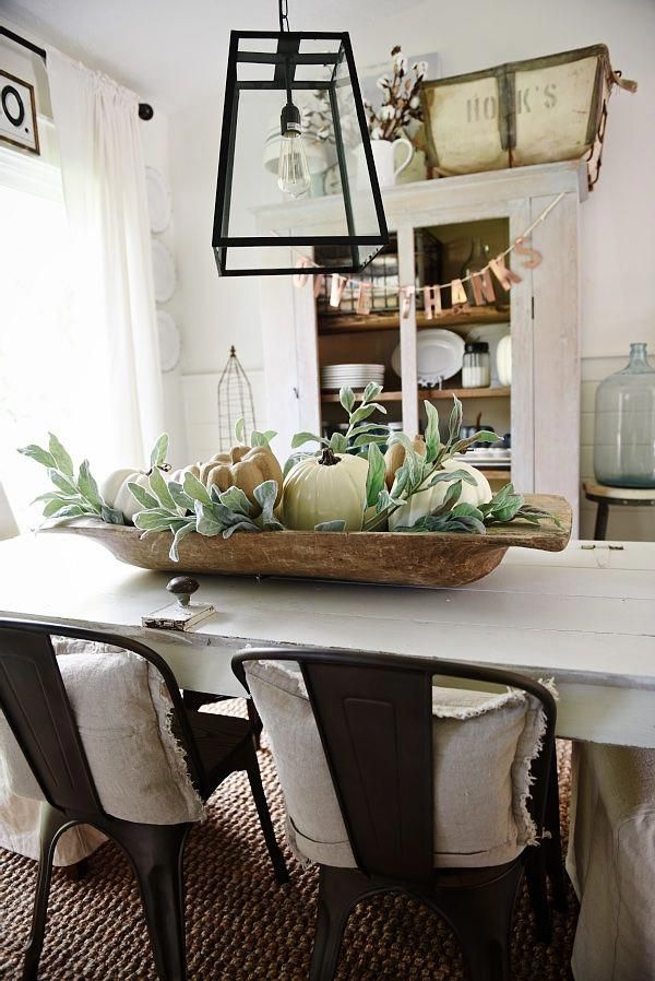 Rustic Neutral Fall Dough Bowl Centerpiece Lovely Farmhouse Style Dining Dining Room Table Centerpieces Dining Room Centerpiece Farmhouse Dining Rooms Decor