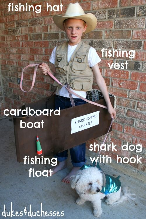 DIY fisherman costume with boat