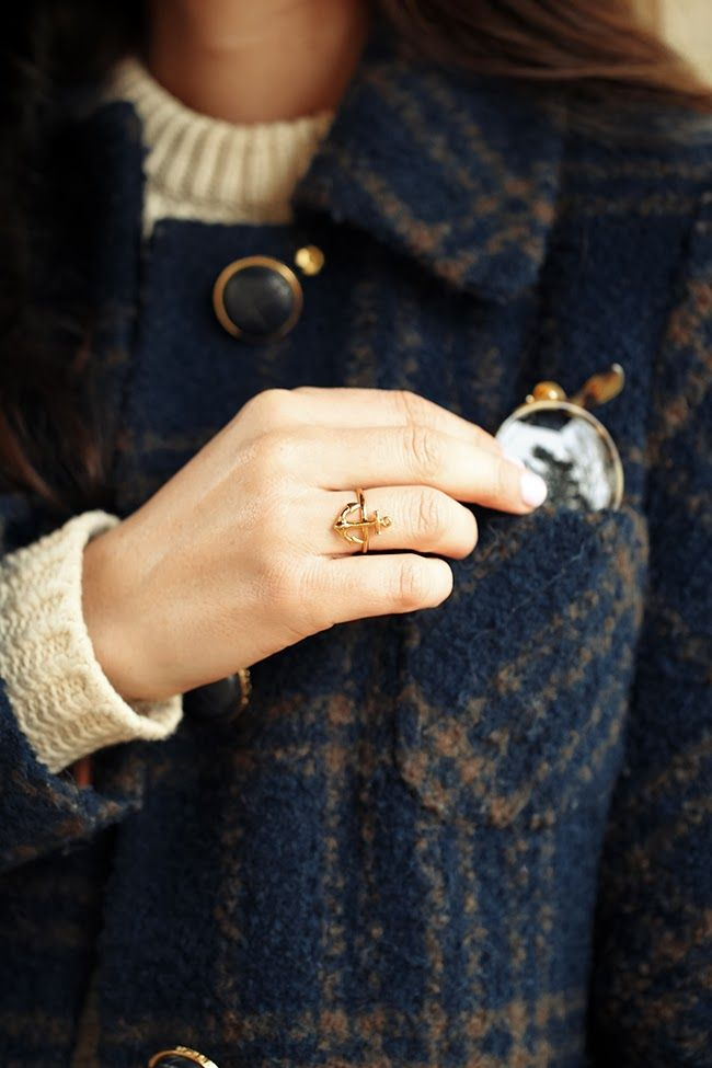 sweater, wool coat, and anchor ring - love that herringbone pattern on the cuff