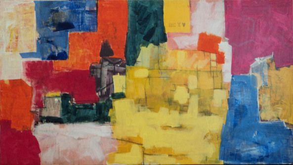 Raúl Herrera / Serie Aglomeraciones Urbanas N° 9 / Acrílico/ tela / 90 x 142 cm / 2015