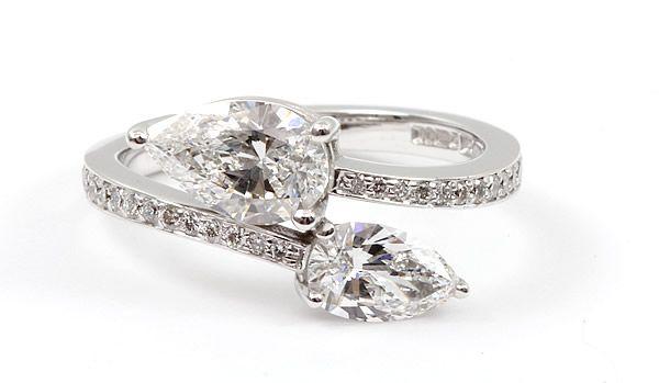 bespoke pear shaped diamond engagement ring
