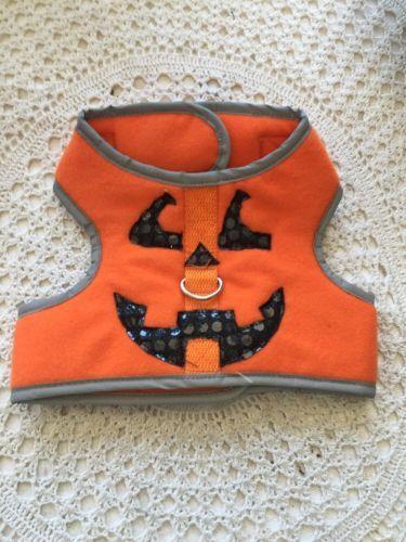 Dog Body Harness Size S Pumpkin Jack O Latern Face Sequins Grey Trim DC7142016