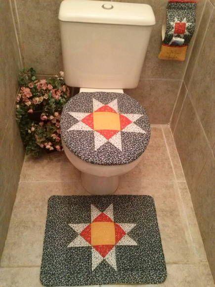 Jogo de banheiro em patchwork, técnica Estrela de Ohio em alto relevo. R$ 80,00