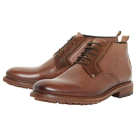 Buy Bertie Cell Plain Grain Short Chukka Boots, Tan Online at johnlewis.com