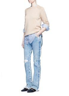 TORTOISEDistressed washed slim bootcut jeans