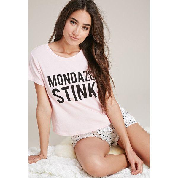 Forever 21 Women's  Mondaze Stink PJ Set found on Polyvore featuring polyvore, women's fashion, clothing, intimates, sleepwear, pajamas, petite pajamas, short sleeve pajama set, short sleeve pajamas and forever 21
