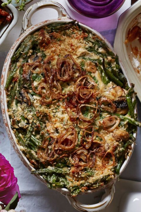 Green Bean Casserole with Fried Shallots: Improve the traditional green bean casserole  with caramelized onions, mushrooms, and a touch of Parmesan, oradd chopped sun-dried tomatoes or diced roasted red peppers. Find more tasty, healthy and easy homemade green bean casserole recipes and ideas for Thanksgiving dinner here.