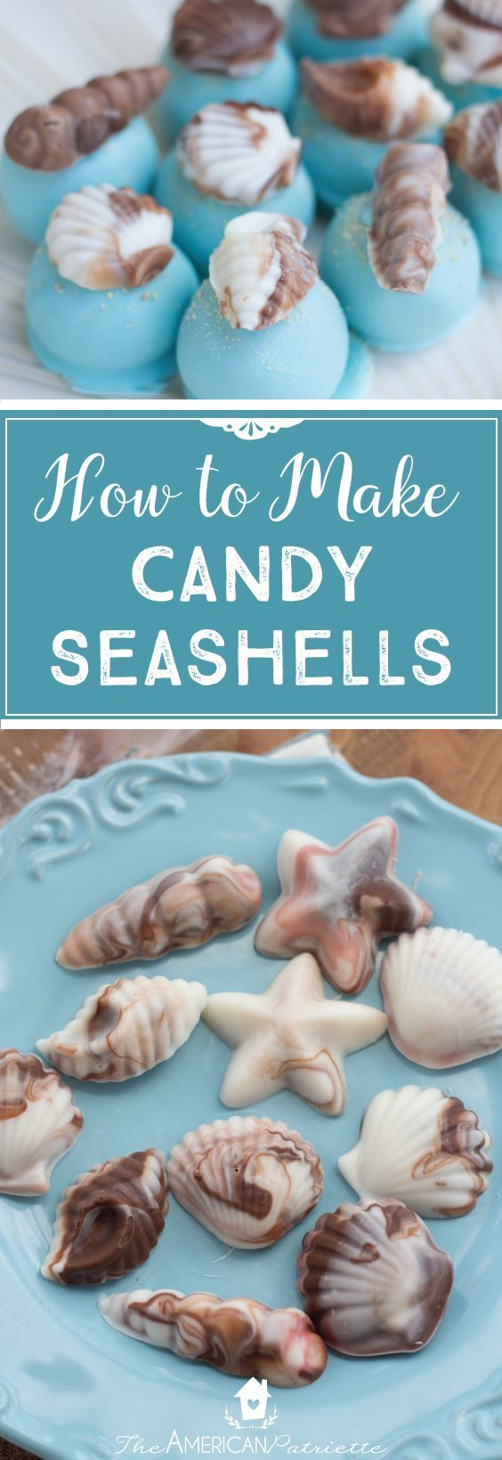 How to make candy seashells, beach-themed food, beach-themed shower, beach-themed party, beach-themed desserts