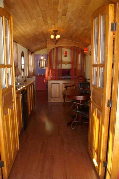 gypsy vardo interior... great post on tiny house blog