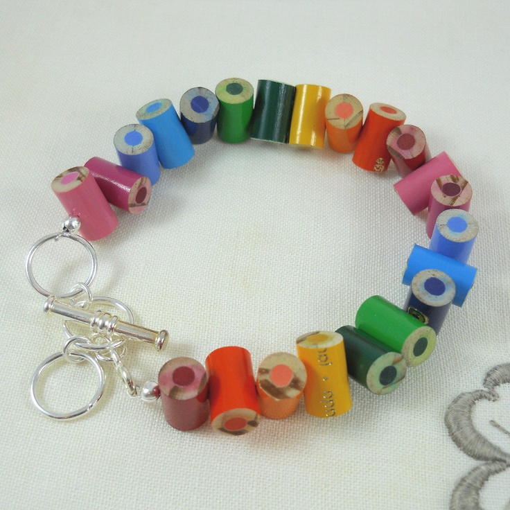 Colored Pencil - Beaded Bracelet - Charm Bracelet - Teacher Gift - Teacher - Bracelet - Jewelry - Adjustable - Multi Color - Rainbow