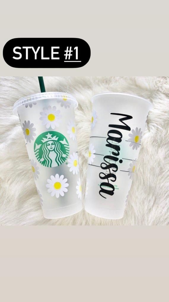 custom gift | personalized cup custom tumbler floral border Floral Starbucks cup