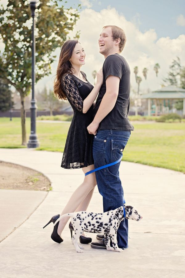 © Brianna Noelle Photography | Daily Dog Tag | #Dalmatian, engagement photos with puppy