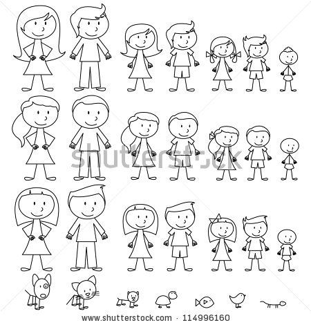 Large Set of Stick Figure People and Pets - stock vector