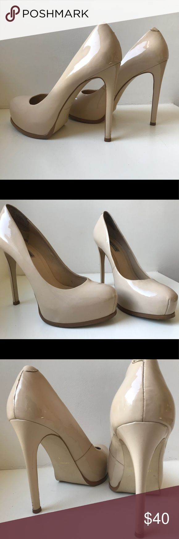 Kelsi Dagger Linzy Pump Patent leather platform pump by Kelsi Dagger.  Leather soles. Nude/sand color. They are one size too small for me now but I have gotten light wear out of them. Very few/no scuff marks. Light wear on soles and on left stiletto (see photos). Perfect substitute for Louboutin lovers. Kelsi Dagger Shoes Heels
