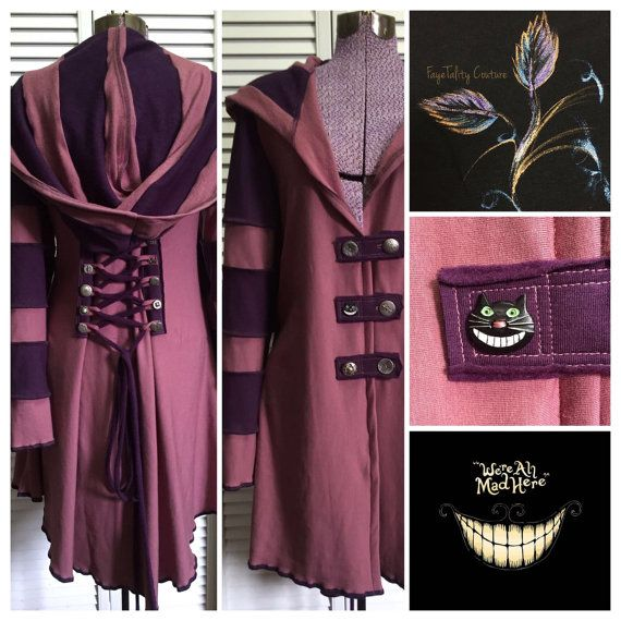 Cheshire Cat purple pink corset laced festival hoodie fairytale Faye Tality Couture