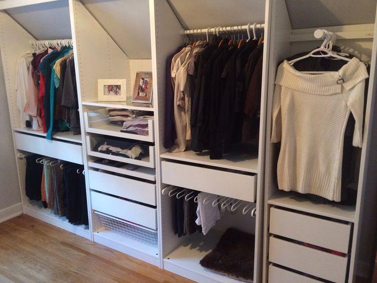 #ikea pax wardrobe custom cut to fit sloped wall. Like second panel with shelf…