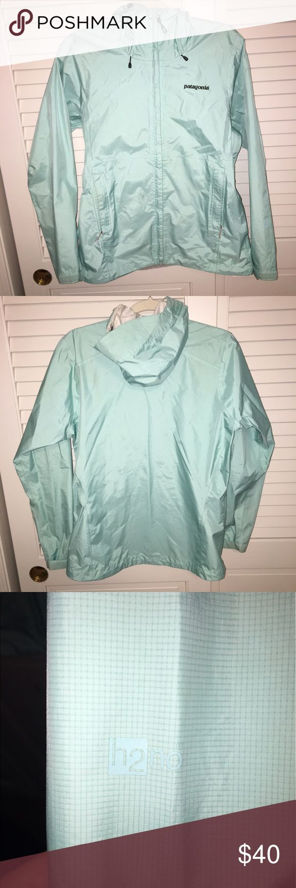 Patagonia Torrentshell Jacket Women's Torrentshell Patagonia rain jacket in a beautiful Tiffany blue color! Optional ventilation under arms, large pockets, adjustable sleeve cuffs, and an adjustable hood are just some of this jackets best features! Great condition, a few small stains that are essentially unnoticeable and actually take effort to find! Will do lower on ️️! Patagonia Jackets & Coats