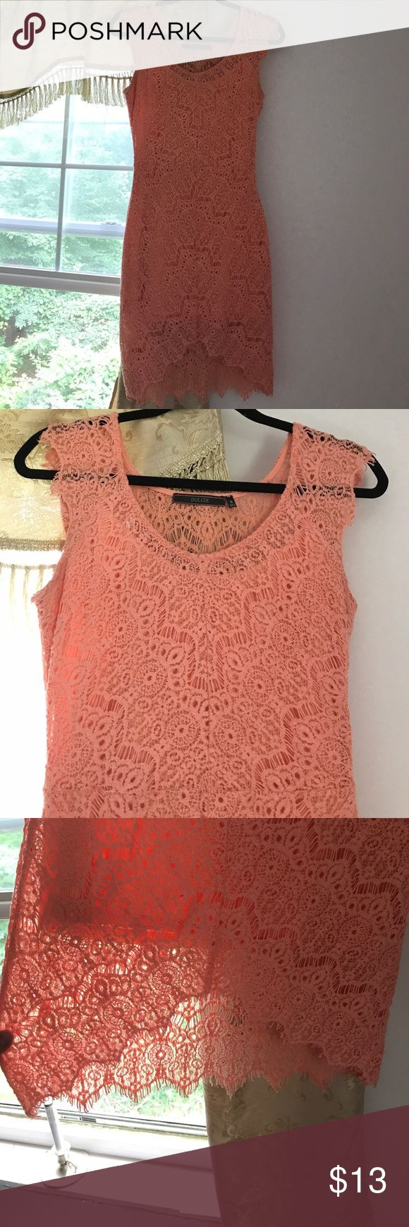 Coral Lace Dress Worn a couple times. A little too big for me. Comfy stretch lining. Could be dressed up or down. Dresses Midi