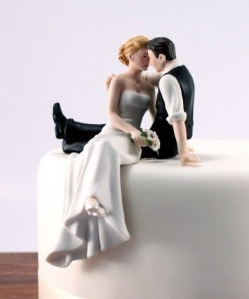 Cake topper - bride on edge of cake