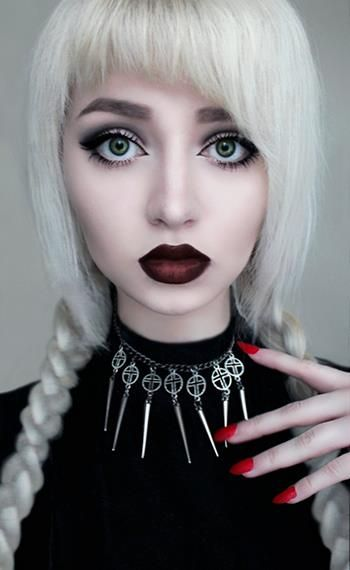 Beautiful white hair, the lips, the eyes - LOVE the whole look....someday....