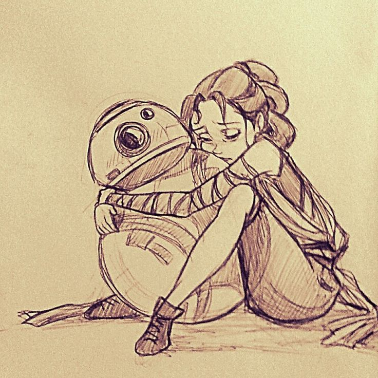 Star wars Rey & BB-8 drawing