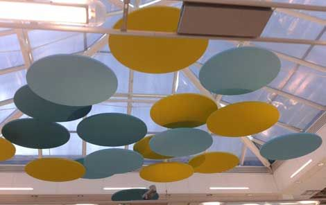 Suspended Sound Absorbing Panels Round Ceiling Canopies