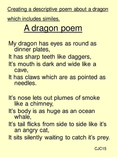 Create character poems. Giants, monsters,dragons ... just use your imagination!<br /> Resources include original poems, templates sheets for writing  and simile cards.<br /> Includes a range of poetry styles....