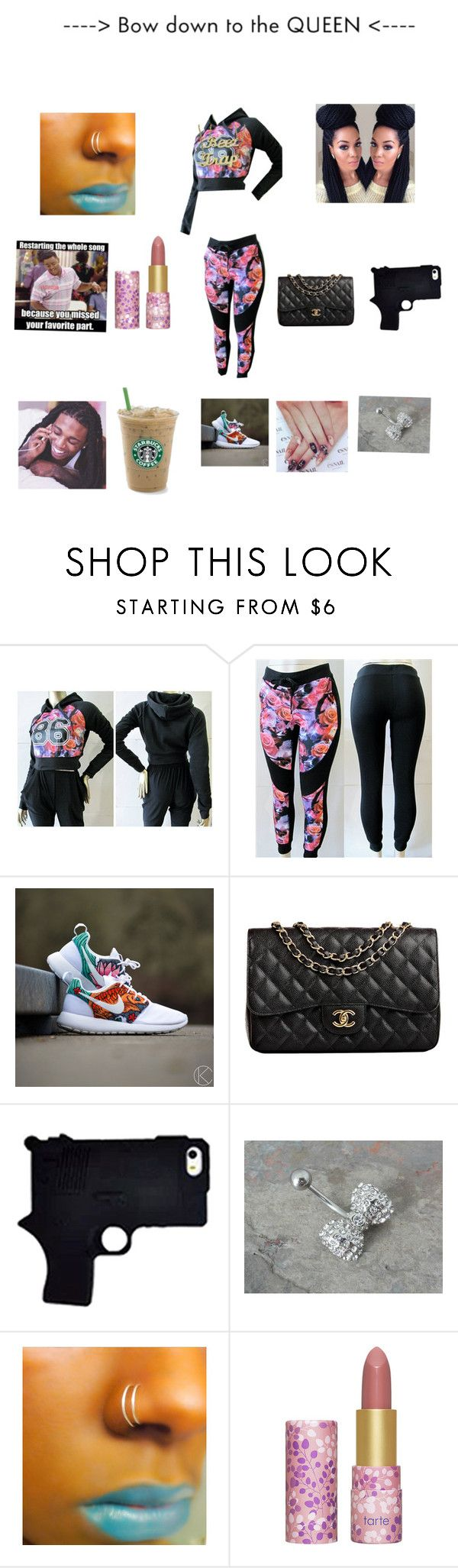 """""""Mornin just woke up bout to get my hair nd feet done 2day so yea!!!!!!"""" by litt13 ❤ liked on Polyvore featuring NIKE, Chanel, Nicki Minaj and tarte"""