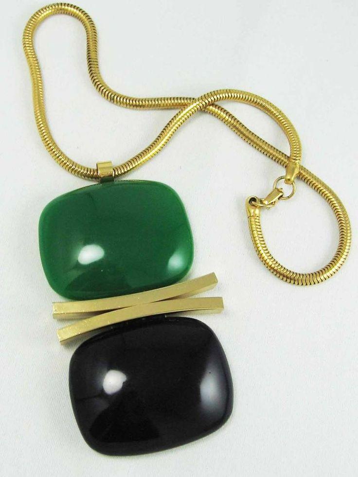 MASSIVE Green Black Gold LANVIN PARIS Modnerist RUNWAY Pendant Vintage 1970's