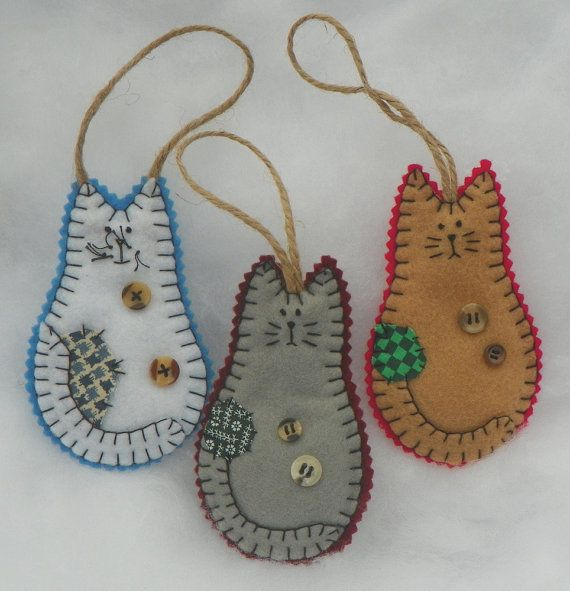 17 best images about felt fantasy cats on pinterest for Cat christmas ornaments craft