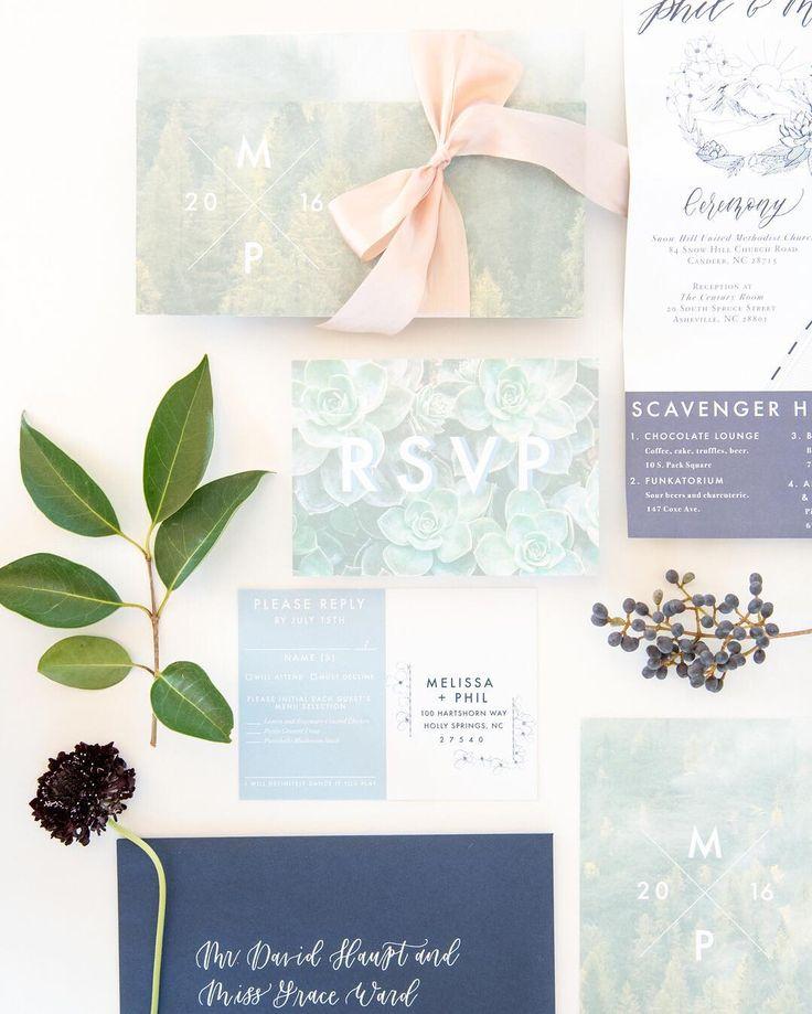sapphire wedding anniversary invitations%0A modern wedding invitation suite blush silk ribbon photo rsvp navy succulents
