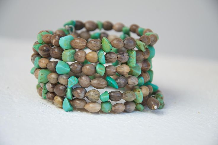 Mary's Tears Seeds and Turquoise Bracelet 6 rounds