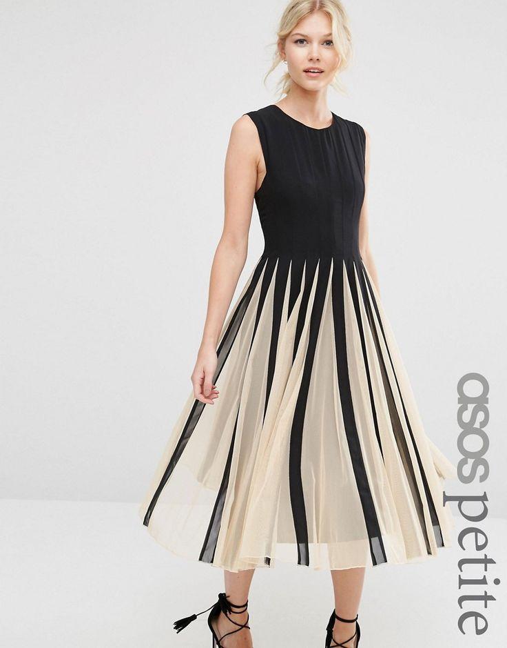 ASOS Petite | ASOS PETITE Mesh Fit And Flare Midi Dress at ASOS